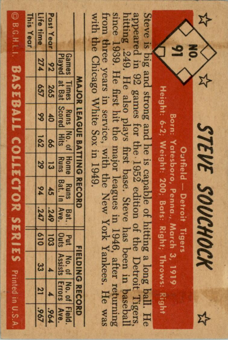 1953 Bowman Color #91 Steve Souchock back image