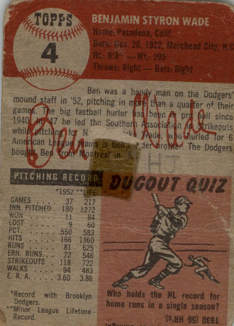 1953 Topps #4 Ben Wade back image