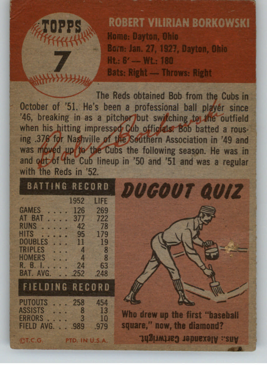 1953 Topps #7 Bob Borkowski DP back image