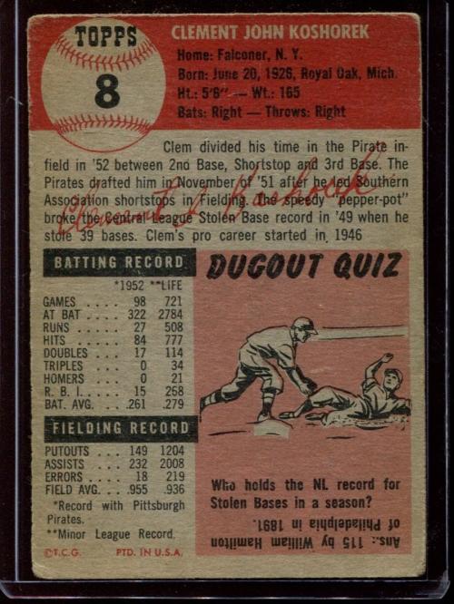 1953 Topps #8 Clem Koshorek DP back image