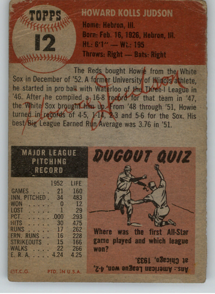 1953 Topps #12 Howie Judson DP back image