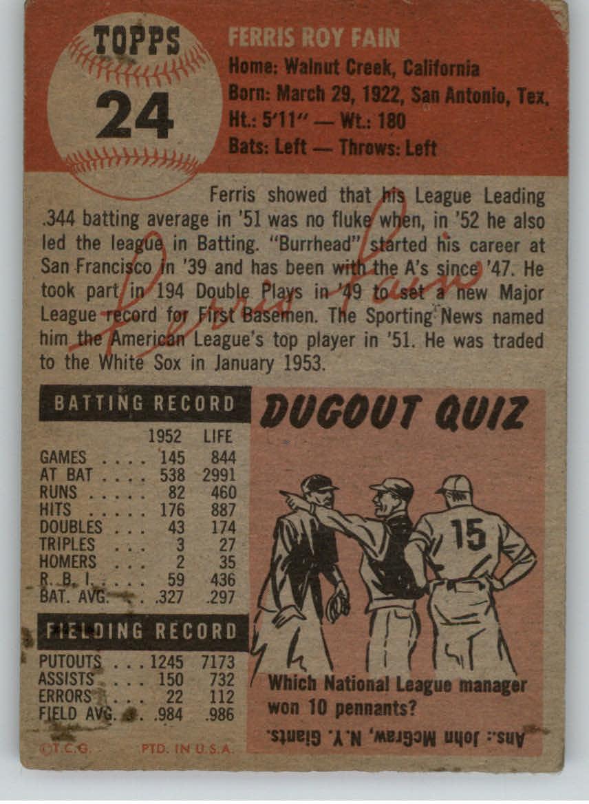 1953 Topps #24 Ferris Fain back image