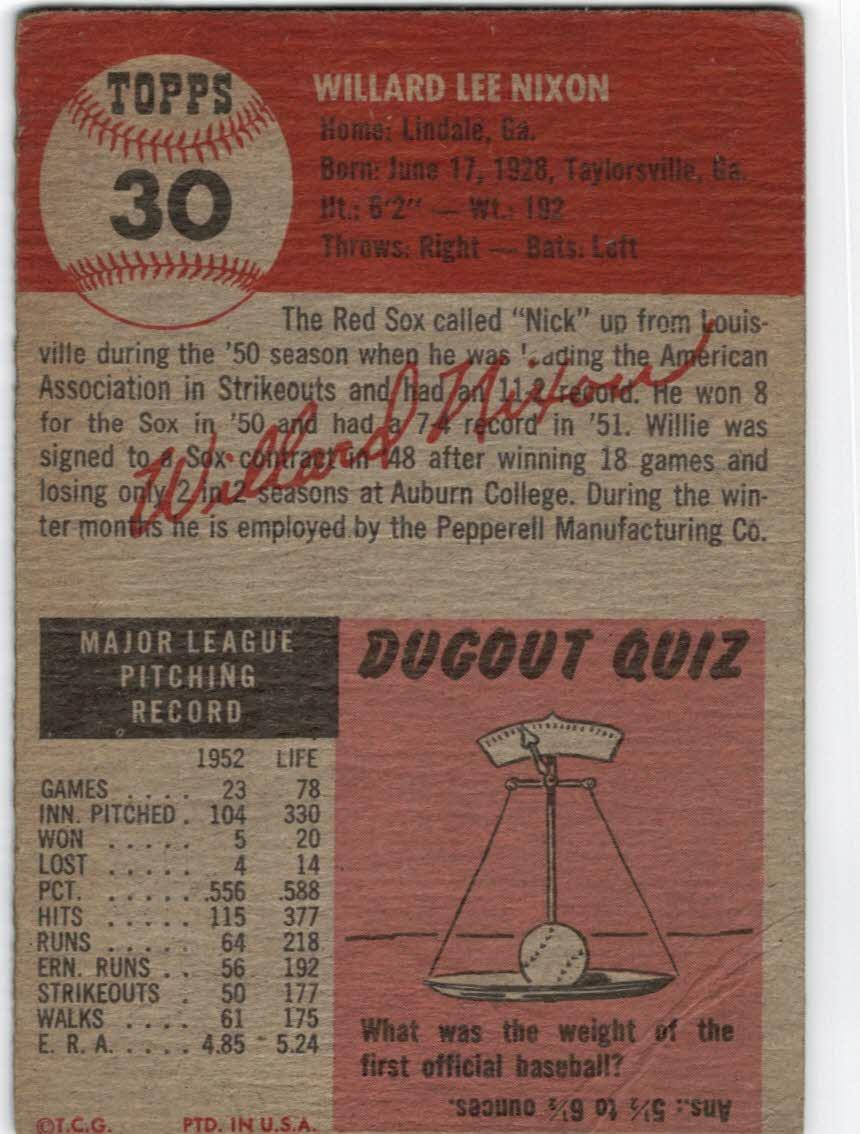 1953 Topps #30 Willard Nixon back image