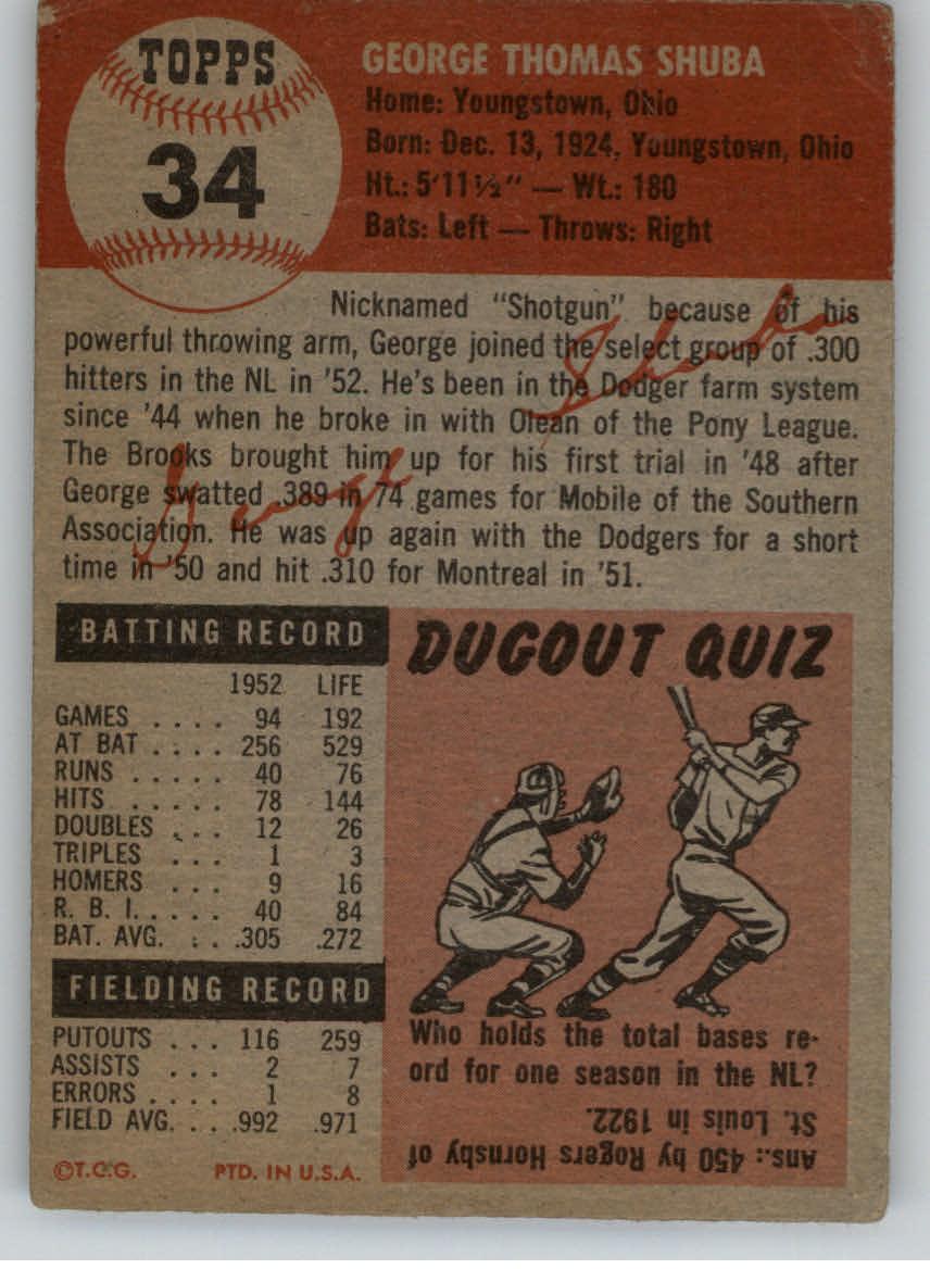 1953 Topps #34 George Shuba back image