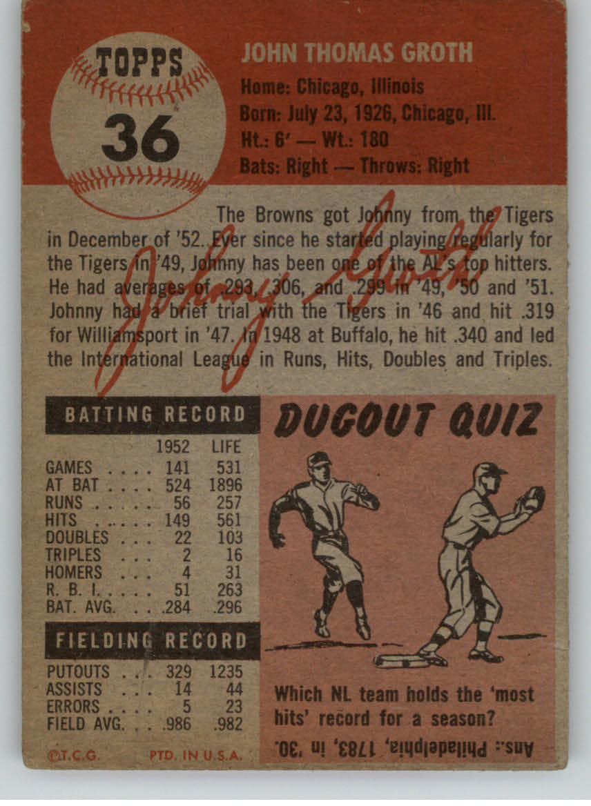 1953 Topps #36 Johnny Groth DP back image
