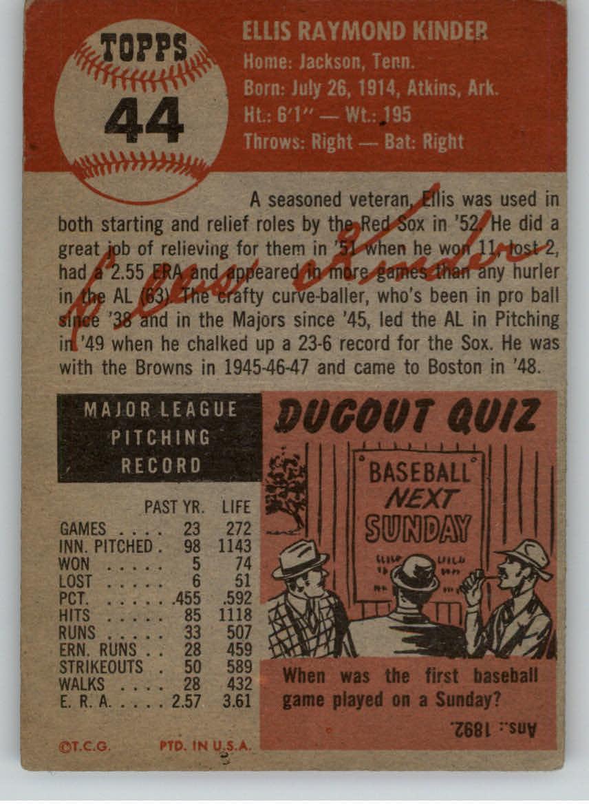 1953 Topps #44 Ellis Kinder SP back image