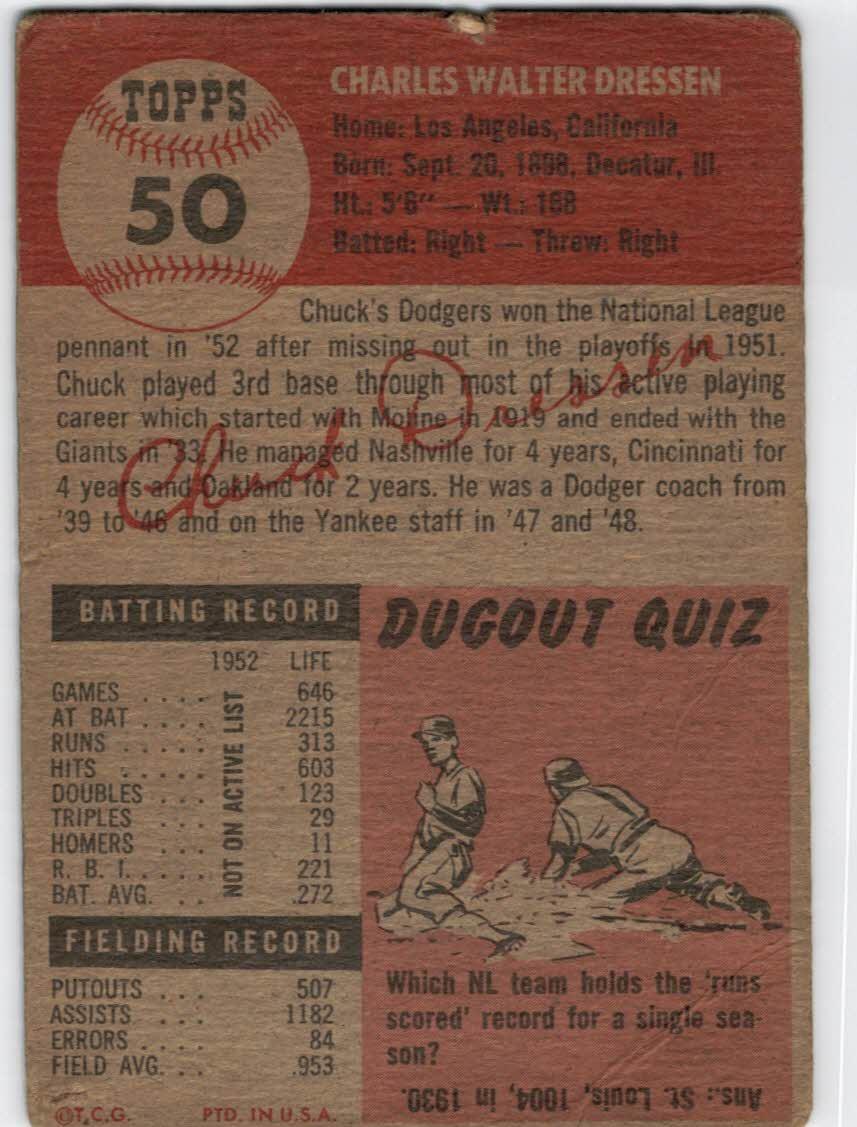 1953 Topps #50 Chuck Dressen MG DP back image