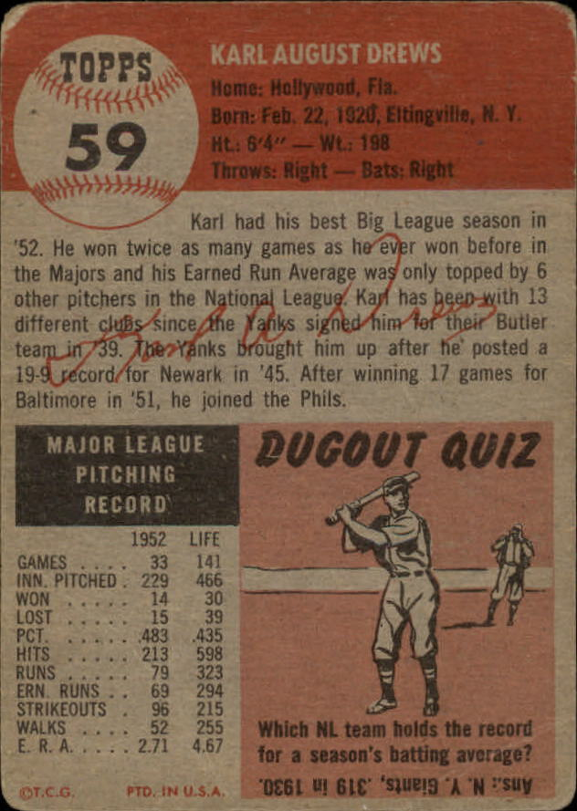 1953 Topps #59 Karl Drews DP back image