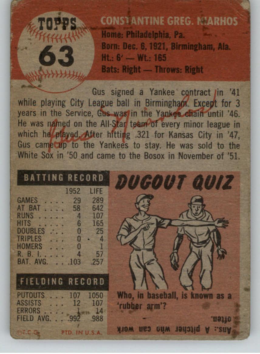 1953 Topps #63 Gus Niarhos DP back image