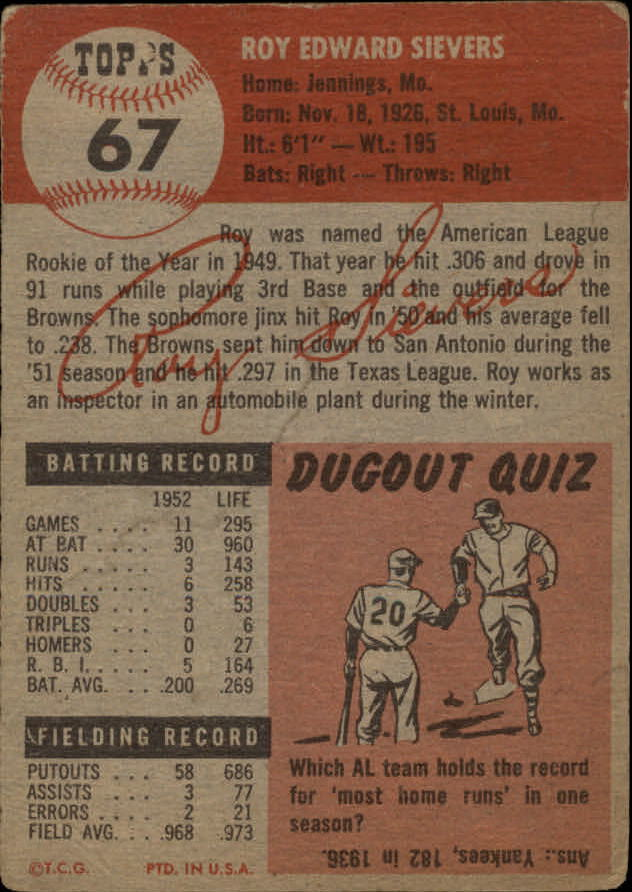 1953 Topps #67 Roy Sievers DP back image