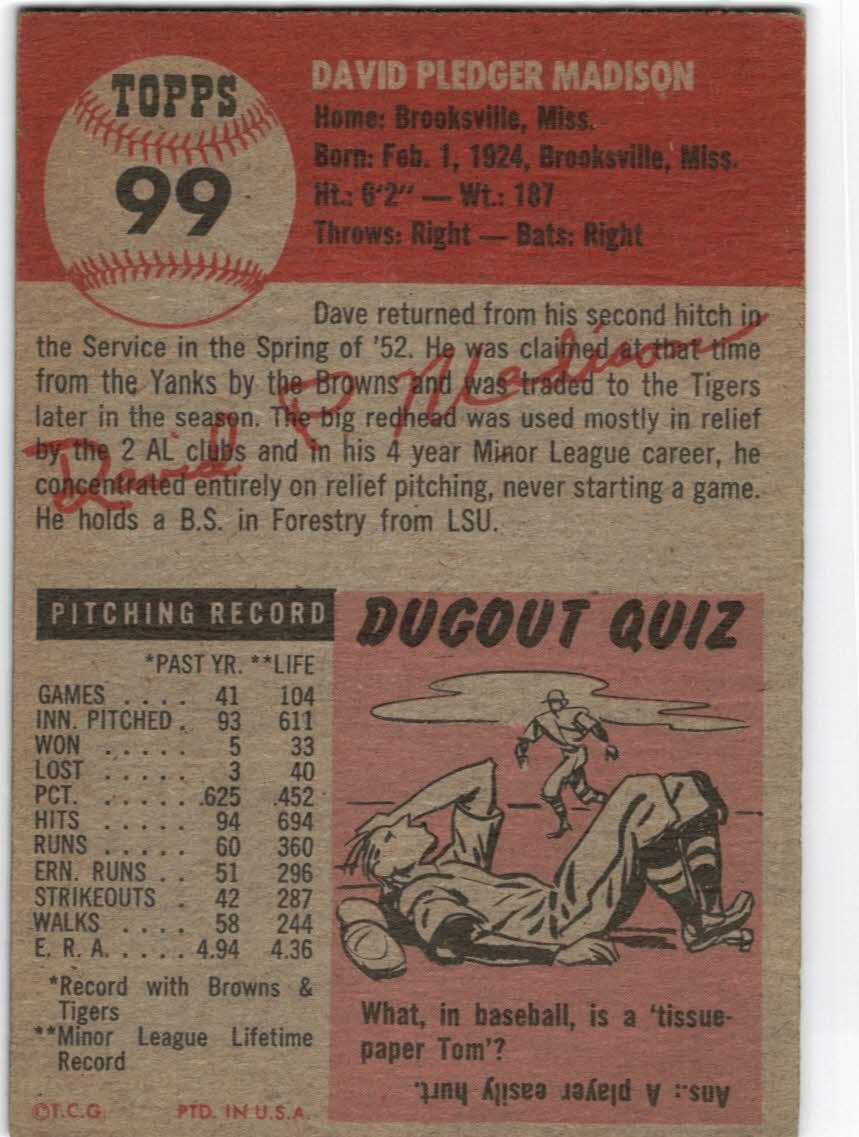 1953 Topps #99 Dave Madison back image