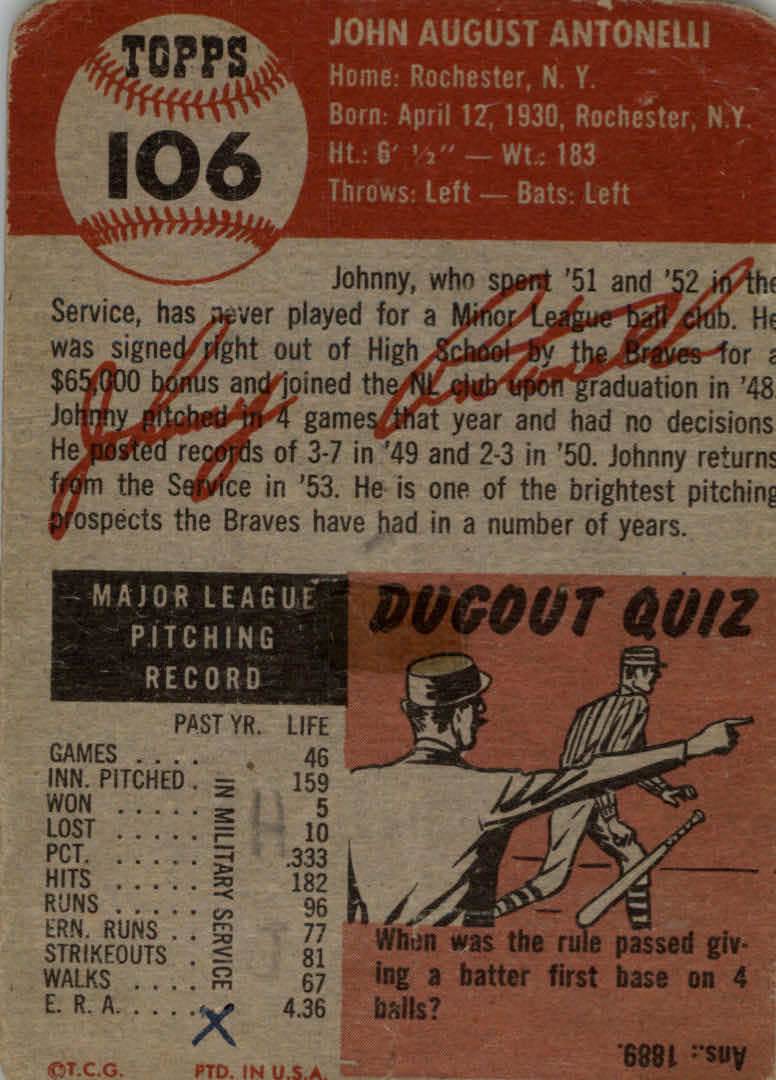 1953 Topps #106 Johnny Antonelli back image