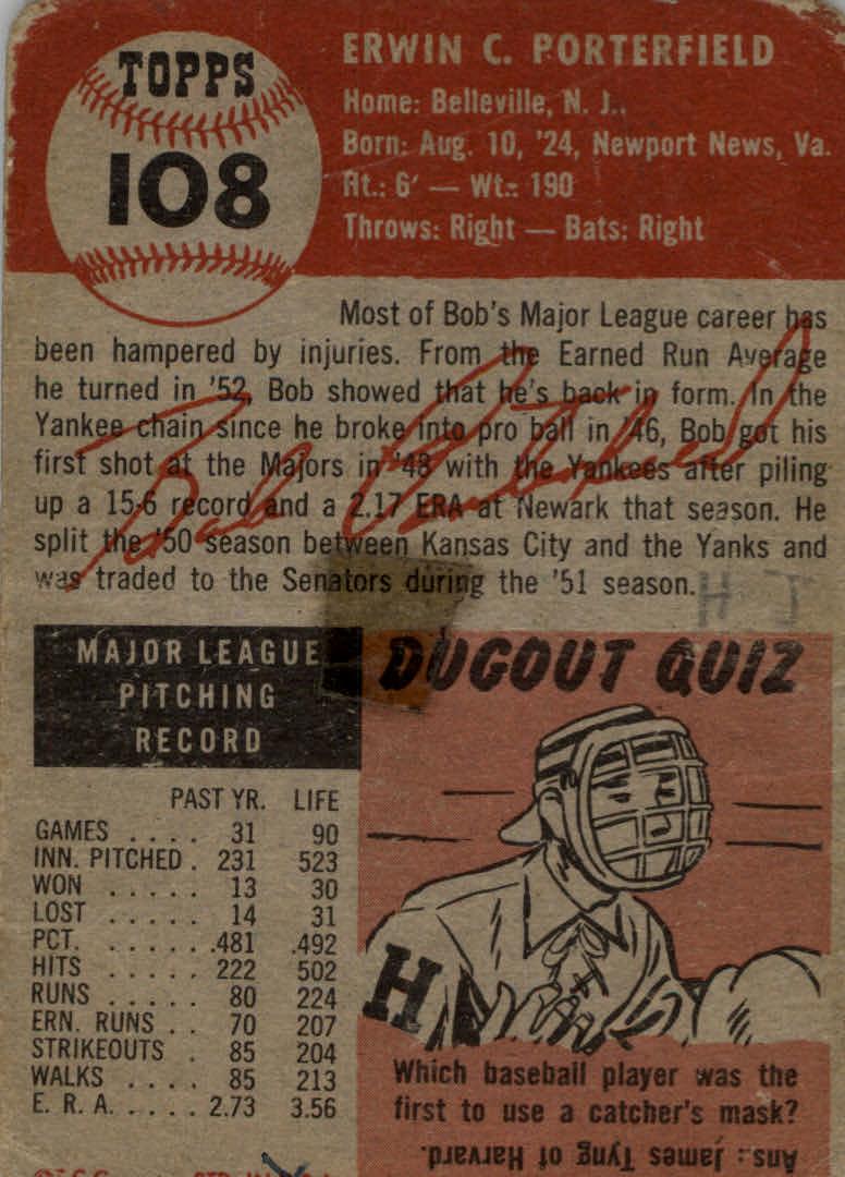 1953 Topps #108 Bob Porterfield DP back image