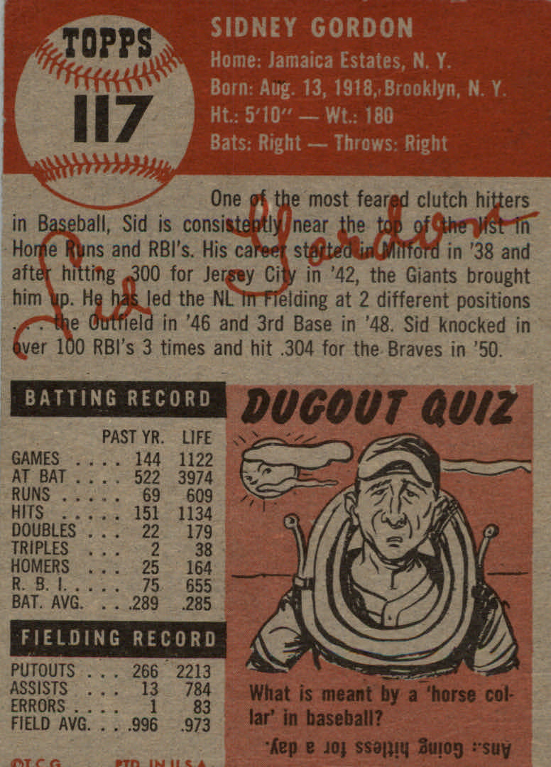 1953 Topps #117 Sid Gordon DP back image