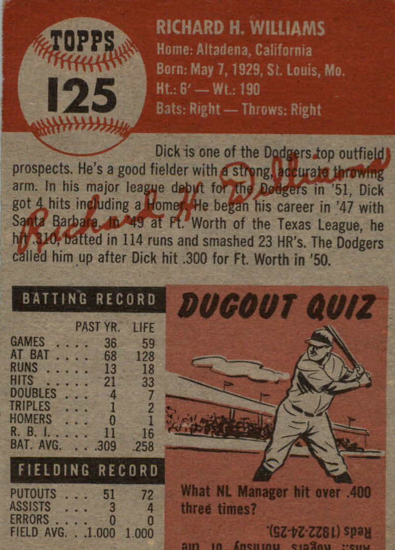 1953 Topps #125 Dick Williams DP back image