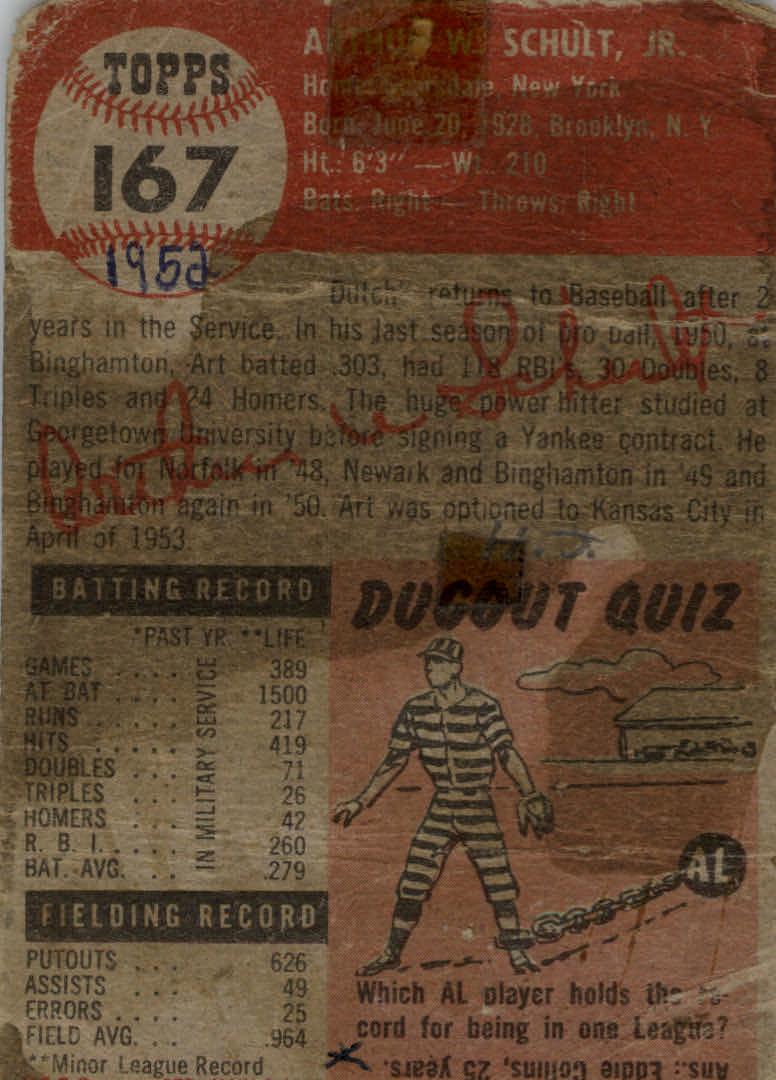 1953 Topps #167 Art Schult RC back image
