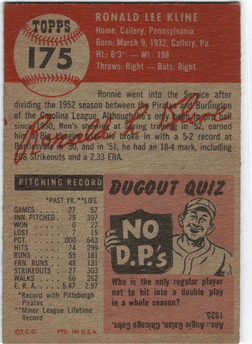 1953 Topps #175 Ron Kline RC back image
