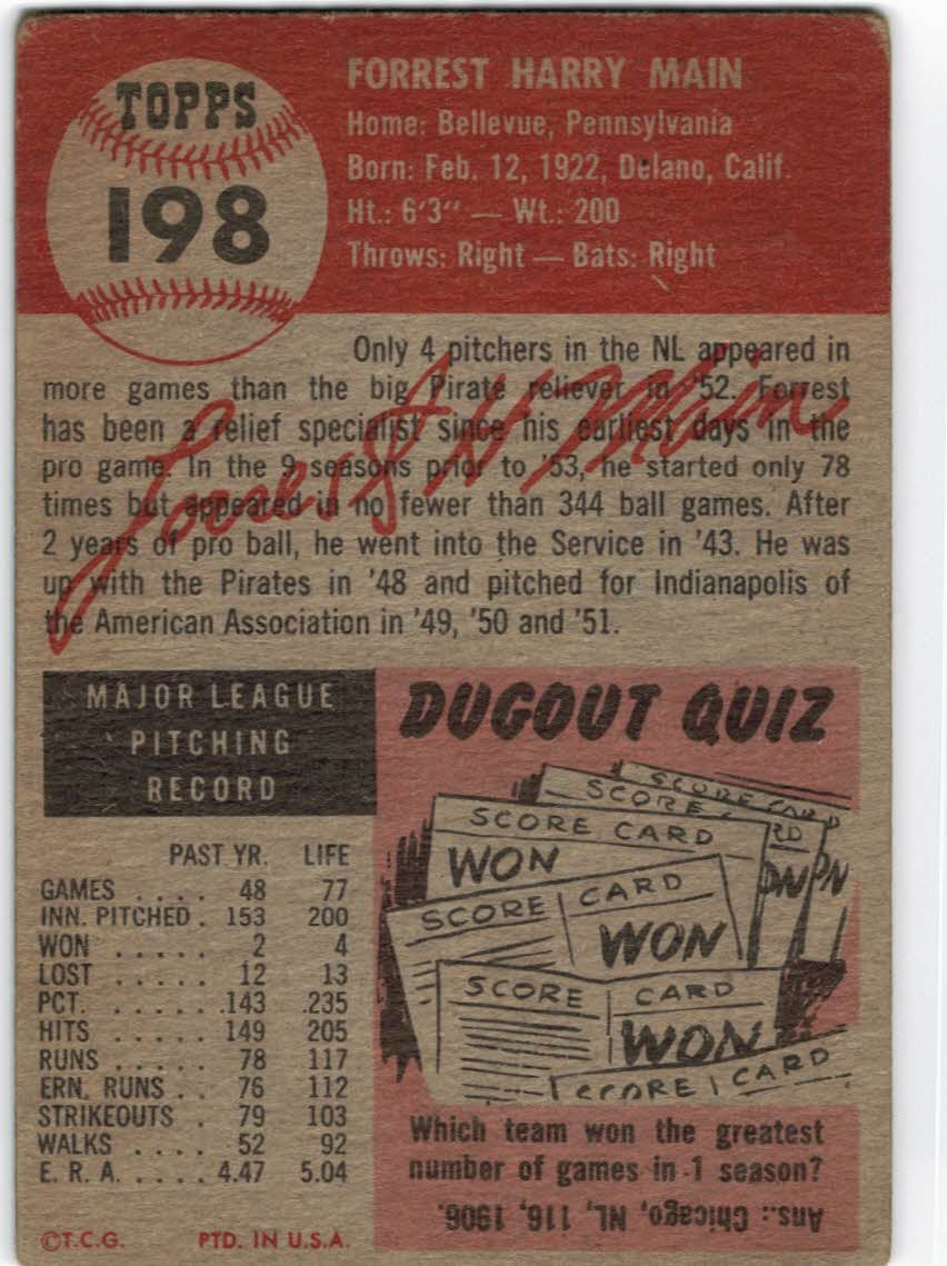 1953 Topps #198 Forrest Main back image