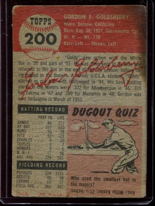 1953 Topps #200 Gordon Goldsberry back image