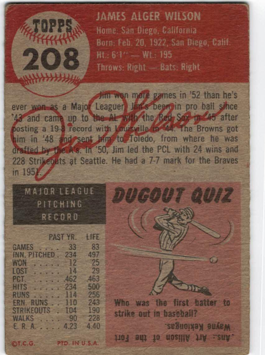 1953 Topps #208 Jim Wilson back image