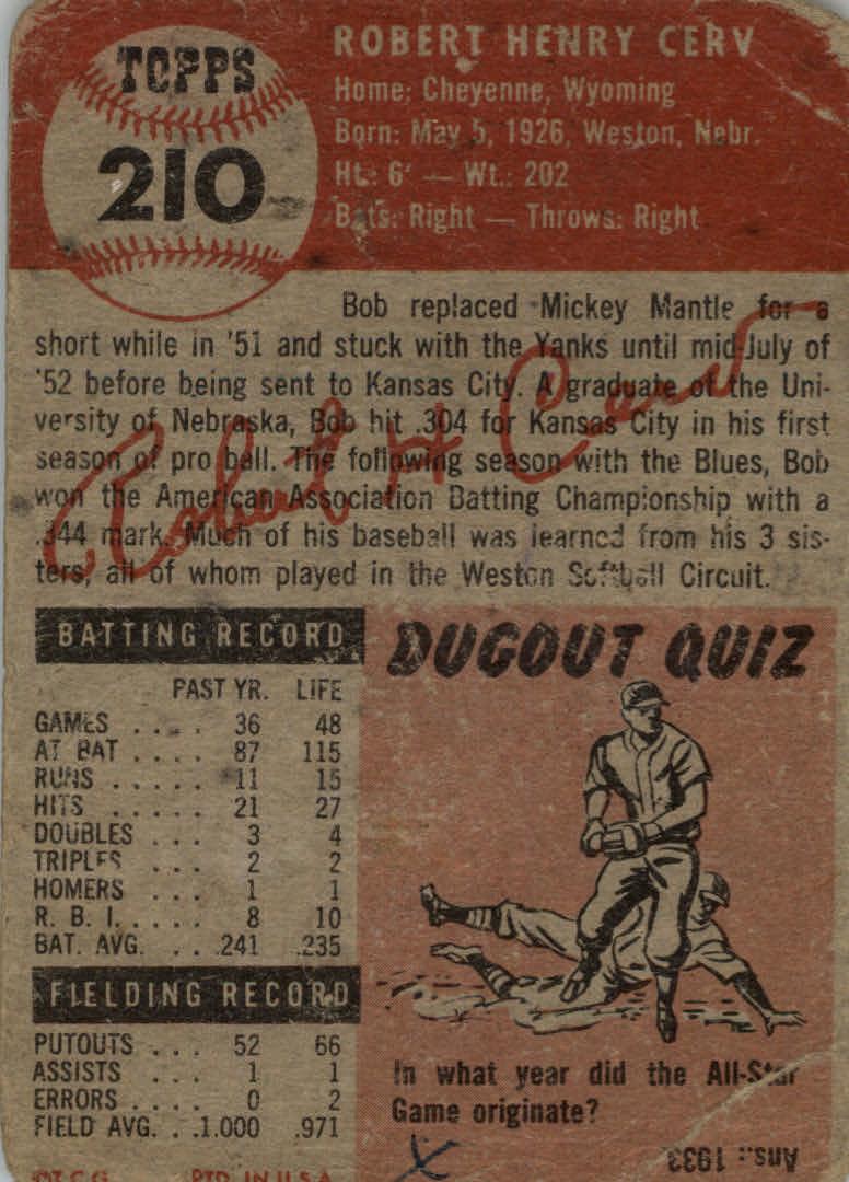 1953 Topps #210 Bob Cerv RC back image