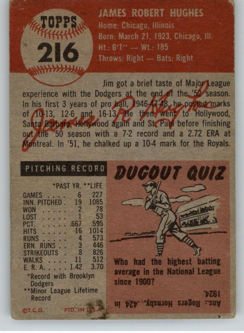 1953 Topps #216 Jim Hughes RC back image
