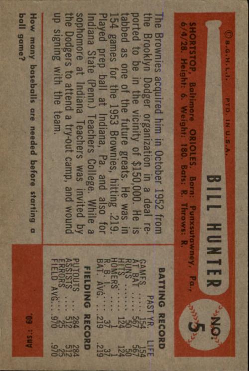 1954 Bowman #5 Billy Hunter