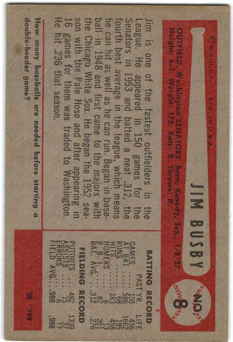 1954 Bowman #8 Jim Busby back image
