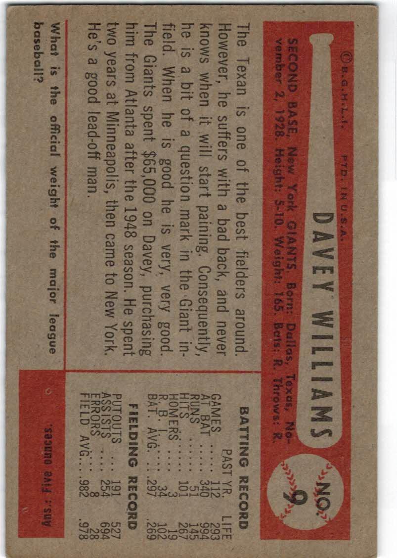 1954 Bowman #9 Dave Williams back image