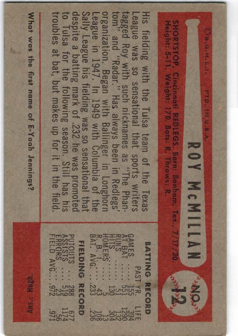 1954 Bowman #12A Roy McMillan/551/1290 At Bat back image