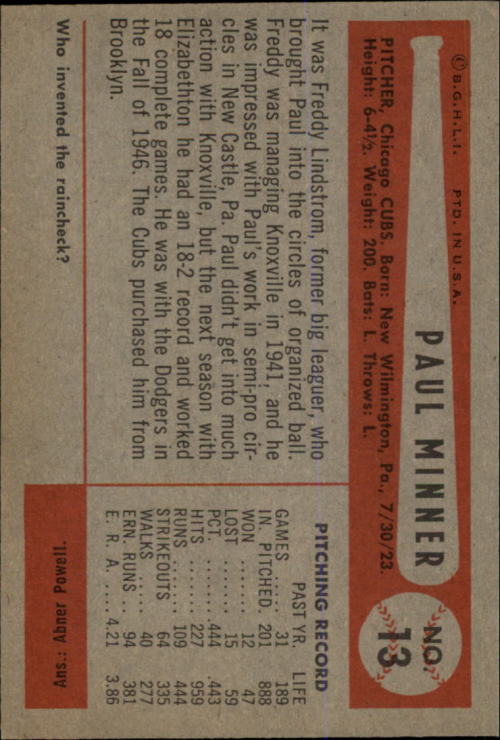 1954 Bowman #13 Paul Minner