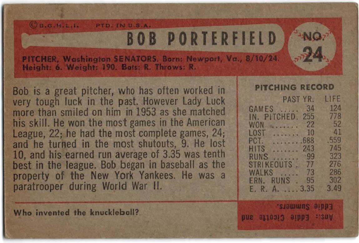1954 Bowman #24 Bob Porterfield back image