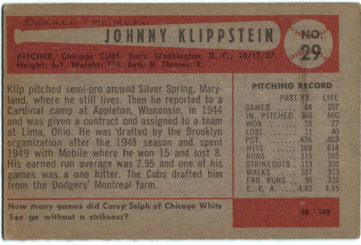 1954 Bowman #29 Johnny Klippstein back image