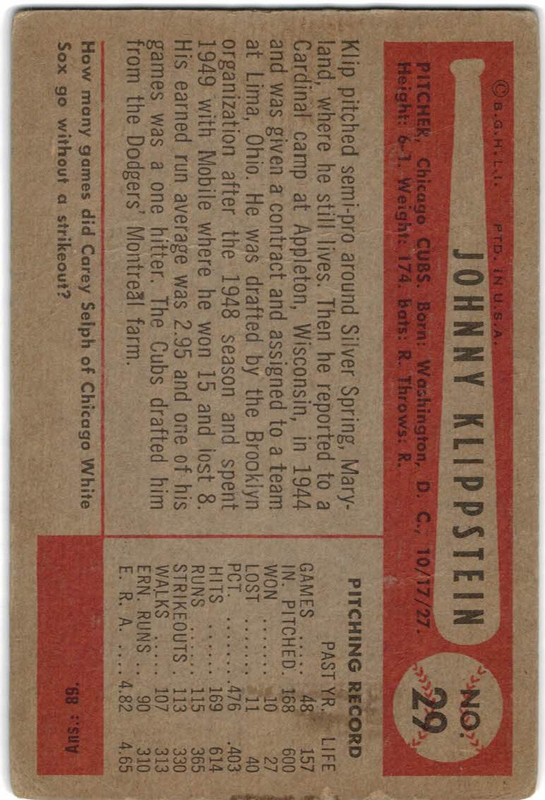 1954 Bowman #29 Johnny Klippstein back image