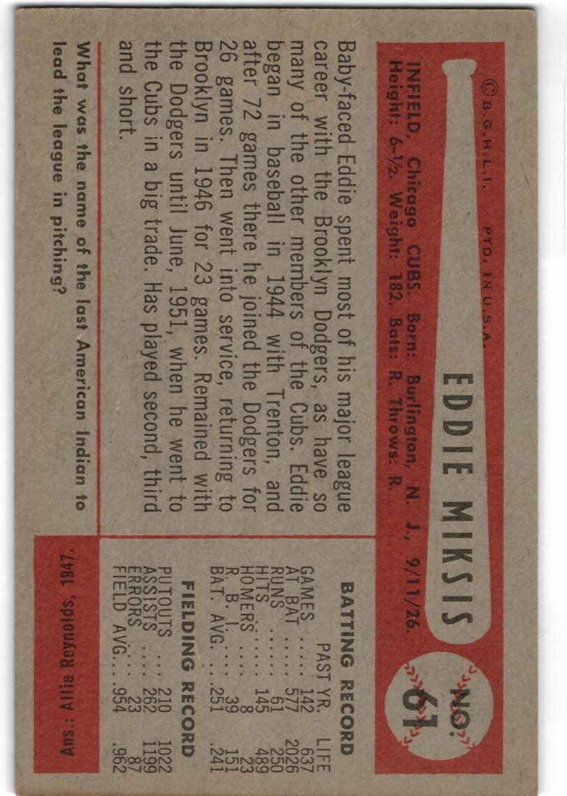 1954 Bowman #61A Eddie Miksis/.954/.962 Fielding Avg. back image