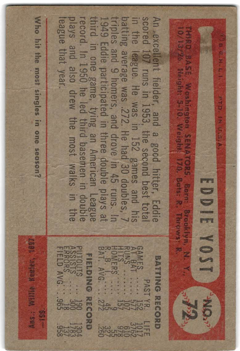 1954 Bowman #72 Eddie Yost back image