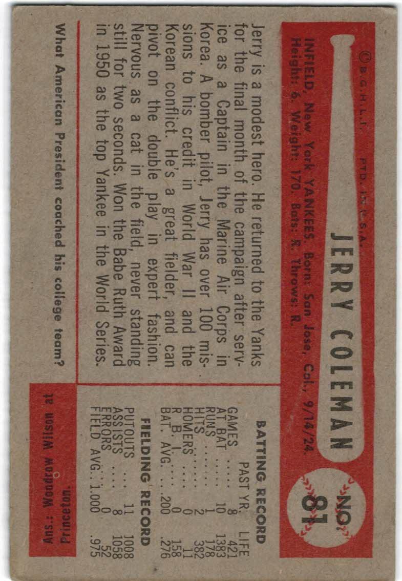 1954 Bowman #81A Jerry Coleman/1.000/.975 Fielding Avg. back image