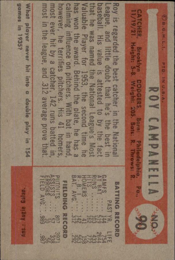 1954 Bowman #90 Roy Campanella back image