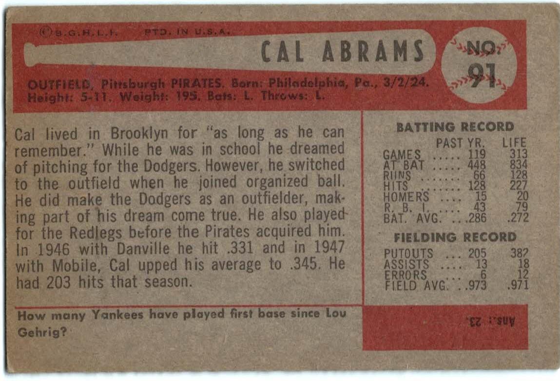 1954 Bowman #91 Cal Abrams back image