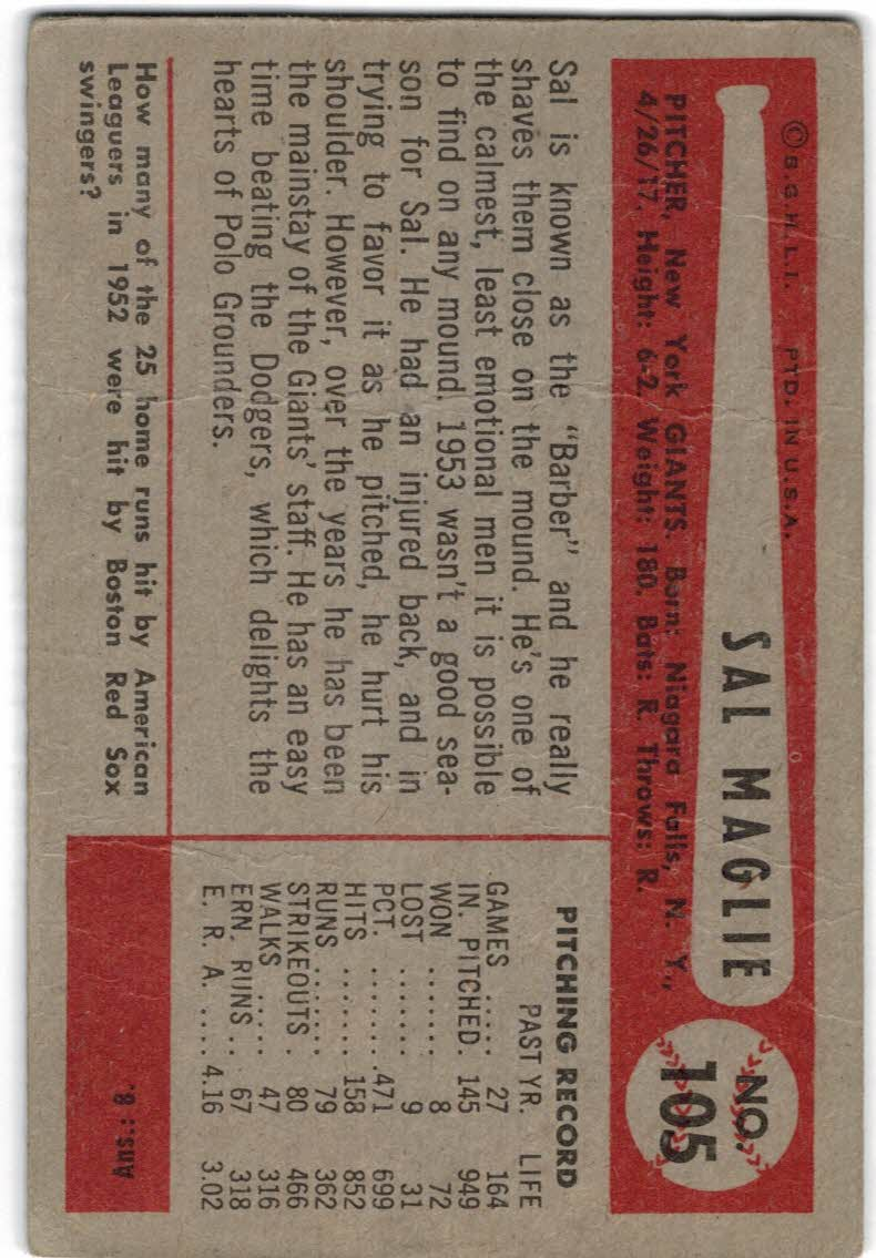 1954 Bowman #105A Sal Maglie Quiz Answer is 8 back image