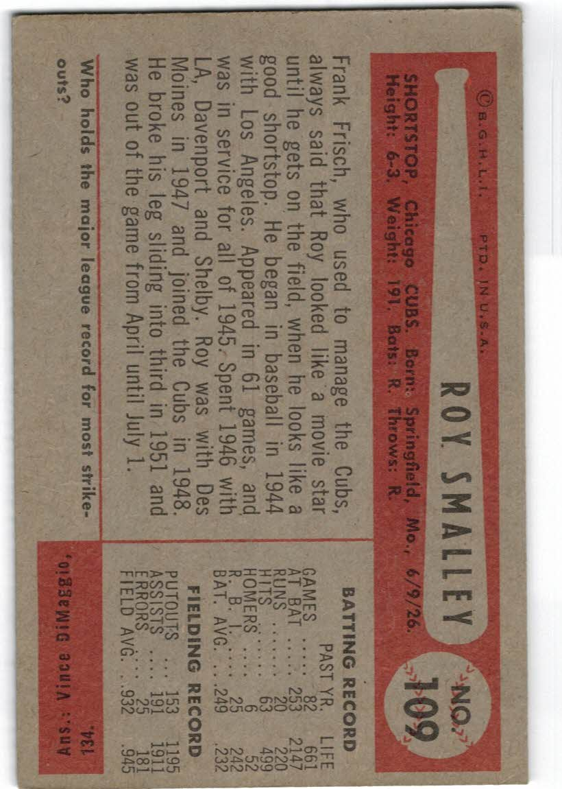 1954 Bowman #109 Roy Smalley back image