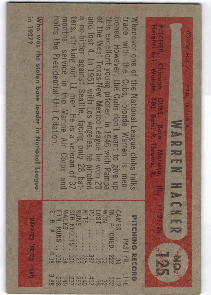 1954 Bowman #125 Warren Hacker back image
