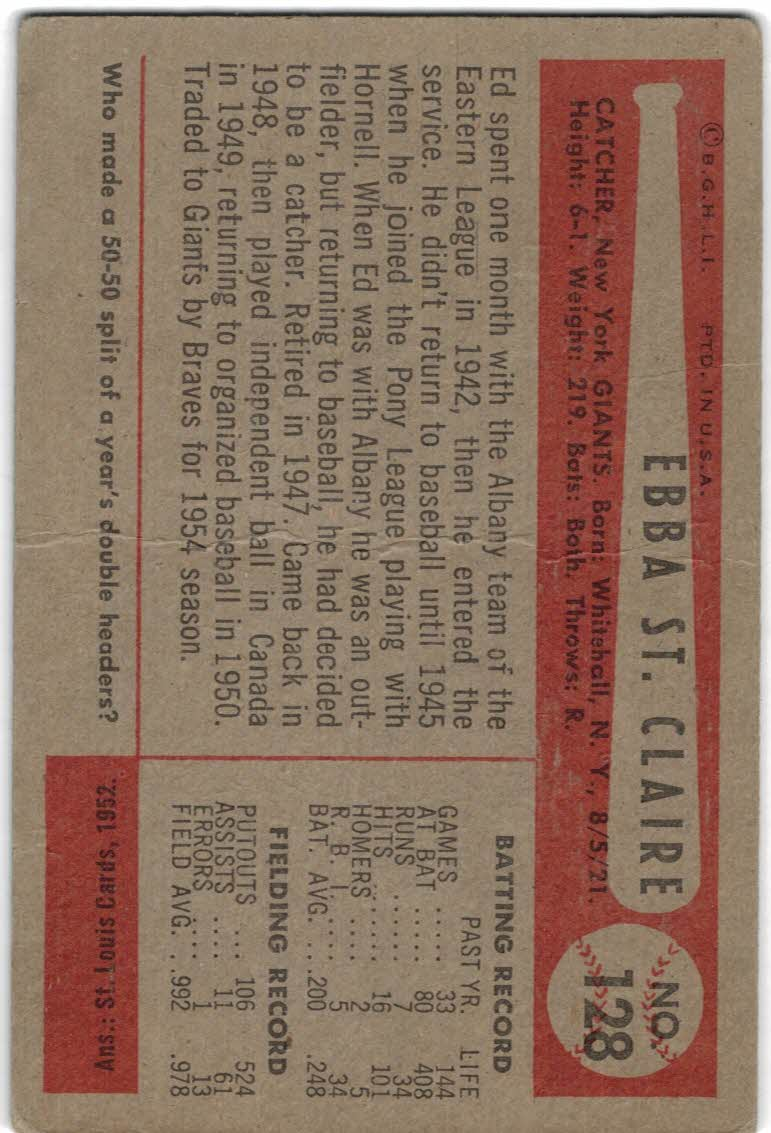 1954 Bowman #128 Ebba St.Claire back image