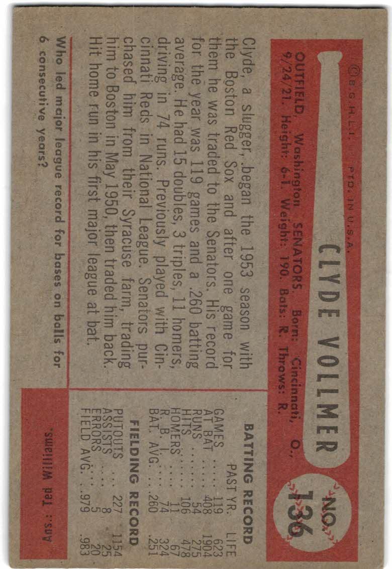 1954 Bowman #136 Clyde Vollmer back image