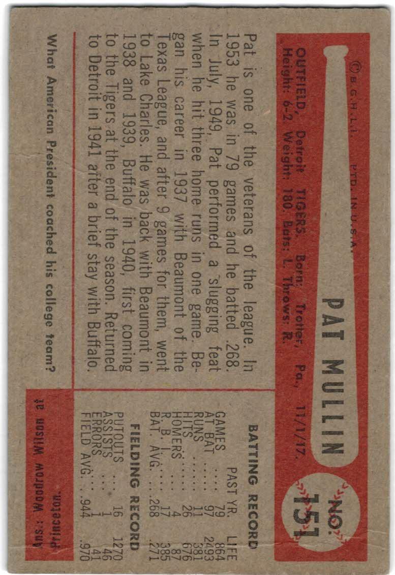 1954 Bowman #151 Pat Mullin back image