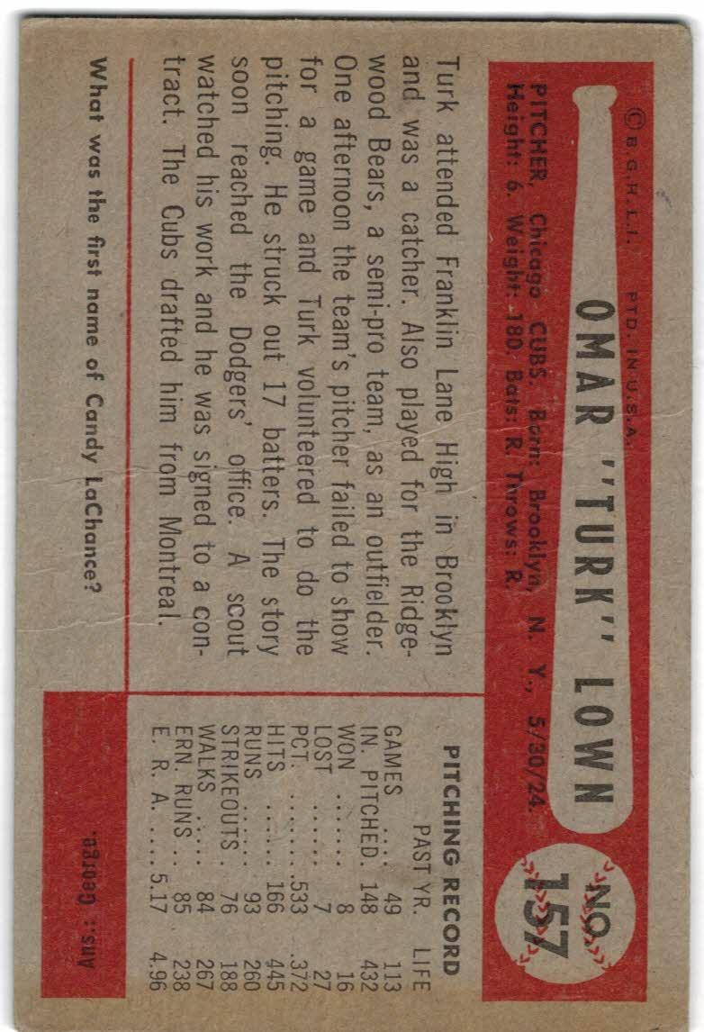 1954 Bowman #157 Turk Lown back image