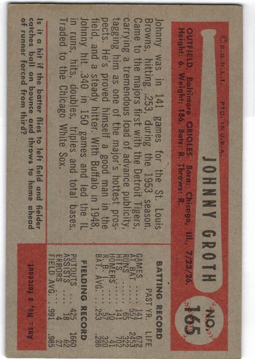 1954 Bowman #165 Johnny Groth back image