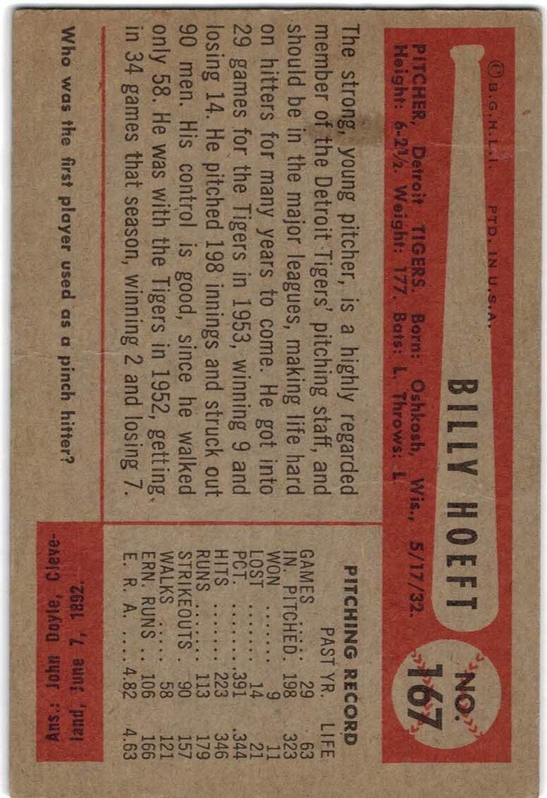 1954 Bowman #167 Billy Hoeft back image