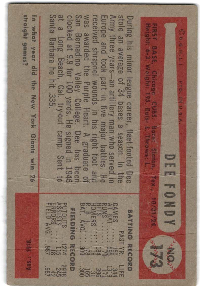1954 Bowman #173 Dee Fondy back image