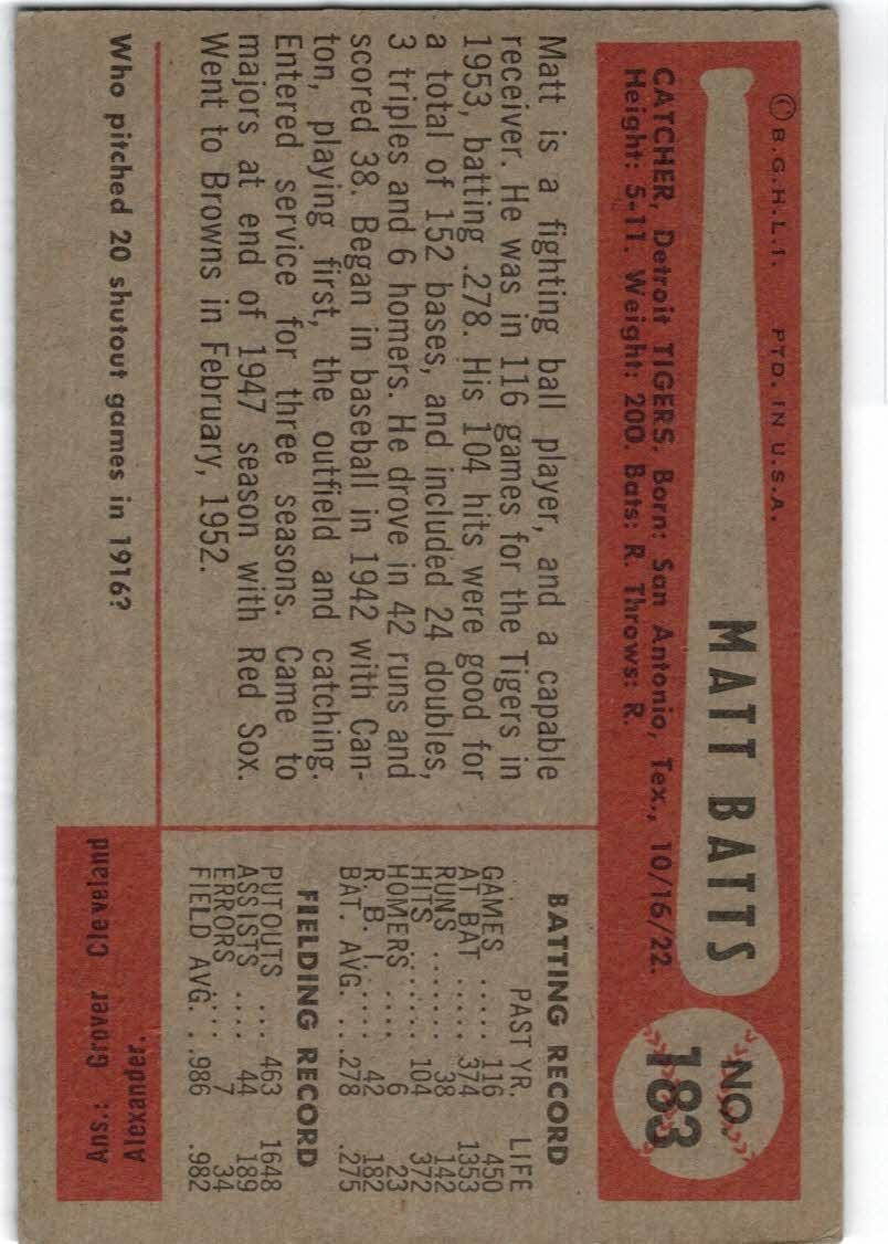1954 Bowman #183 Matt Batts back image